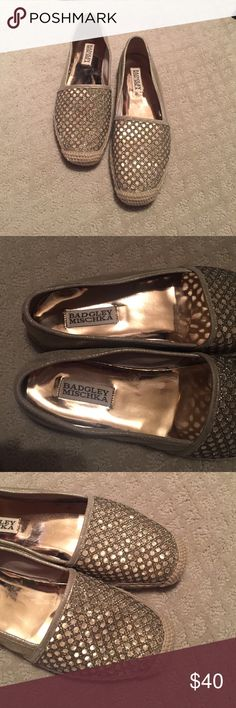 Badgley Mischka gold slip ons Badgley Mischka gold slip ons. Excellent condition only worn once Badgley Mischka Shoes Flats & Loafers