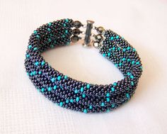 SALE - Beadwork - 3 Strand Bead Crochet Rope Bracelet in hematite and turquoise - beaded bracelet - beaded jewelry