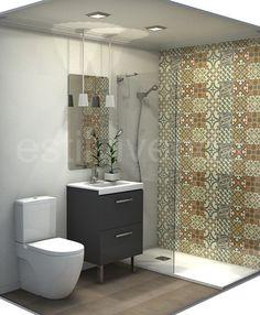 Diseño baño de reducidas dimensiones. #Reformas baños Vanity, Curtains, Bathroom, Google, Design, Houses, Home, Dressing Tables
