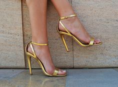 River Island - Golden Ankle Strap High Heels - Tacchi Close-Up