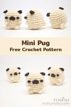 Mini Amigurumi Pug Free Crochet Pattern - - Crochet an adorable mini pug dog with this free amigurumi pattern and tutorial. Little pugs are so quick and easy to make, you'll soon have a whole grumble for yourself or your pug-loving friends and family. Crochet Kawaii, Cute Crochet, Crochet Crafts, Knit Crochet, Crotchet, Crochet Stitch, Yarn Crafts, Crochet Baby, Crochet Animal Patterns