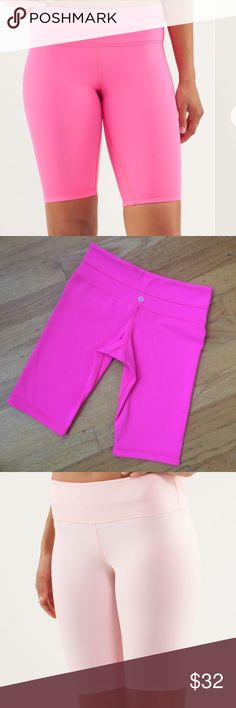 Lululemon Reversible Pink Short This reversible hot pink short is perfect for any type of workout. One side is hot pink the other is a light pink. In excellent condition. lululemon athletica Shorts