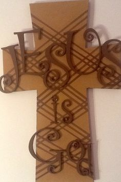 Handmade Large Painted Wooden Cross by AllAboutJesusDesigns
