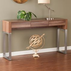 Have to have it. Southern Enterprises Maeve Console Table - Walnut / Brushed Nickel - $299.99 @hayneedle