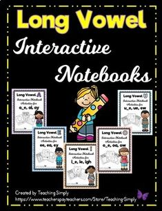 Print and go interactive notebook activities for the most common long vowel spellings. Each product has at least 10 activities per vowel! Learn and review all year long in a fun, engaging way with the use of interactive notebooks. I have included the Long A preview so you can get an idea of the activities that are included in each product. #LongVowels #Phonics #InteractiveNotebooks #WordWork