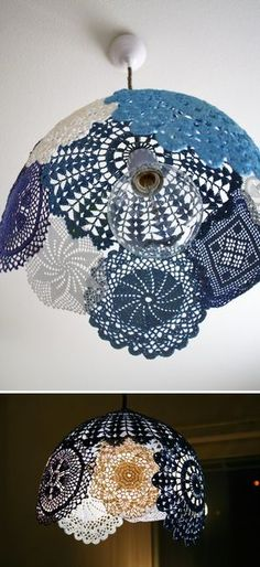 starched doily lampshade.