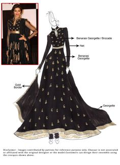 Deepika Padukone Black Anarkali Suit
