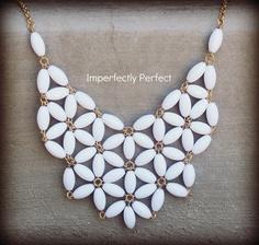 Bright White 39.00 Handmade Statement Necklace. $39.00, via Etsy.
