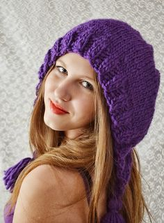 Hand knitted hat Purple Winter by irinacarmen on Etsy, $38.00