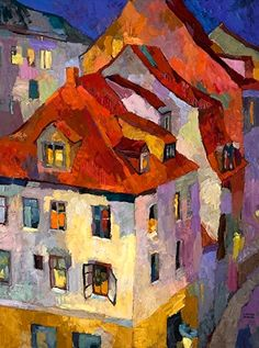 ۩۩ Painting the Town ۩۩ city, town, village & house art -  Larisa Aukon, Rooftops