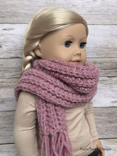 CROCHET PATTERN – 18 inch Doll & Pet Matching Fringe Scarves Set PDF 15 (Fits American Girl Dolls) Instant Download