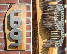 Teds Wood Working - Use reclaimed wood and screws to make a personalized house number sign. - Get A Lifetime Of Project Ideas & Inspiration! Home Projects, Craft Projects, Projects To Try, Project Ideas, Industrial House Numbers, Number Crafts, Creation Deco, Ideias Diy, Home Design