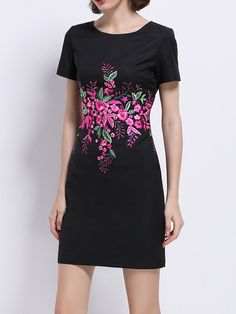 Shop Mini Dresses - Black Short Sleeve Polyester Floral-embroidered Mini Dress online. Discover unique designers fashion at StyleWe.com.