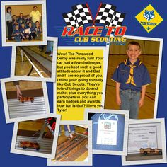 Boy Scout Scrapbook Page Layouts | ... Page >> scraphappens's Scrapbooks >> Cub Scouts Pinewood Derby - Page