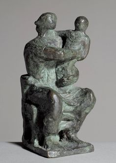 "Henry Moore, ""Maquette for Madonna and Child"", 1943.                                                                                                                                                      More"