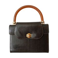 a59d3801ac7c Gucci Vintage 1960's Brown Lizard Box Purse | From a collection of rare  vintage handbags and. 1stdibs.com