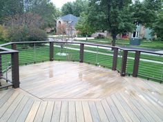 Composite TimberTech Deck Design with Cable Rails by Downers Grove, IL Deck Builder