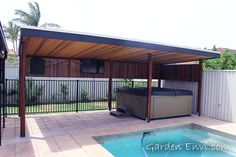 Timber cubby houses,timber garden shed,timber gazebos,timber pergolas,timbe Timber Pergola, Cedar Pergola, Deck With Pergola, Wooden Pergola, Pergola Shade, Pergola Cover, Patio Roof, Pergola Designs, Pool Designs