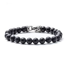 Scott Kay Men's 10mm Black Onyx Beaded Bracelet with Sterling Silver Clasp - 9 Inches, Black