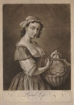 A young woman carrying a basket full of pats of butter, shown three-quarters length standing to right, glancing at the viewer and lifting a cloth to reveal the wares, wearing a low-cut rustic gown; after Mercier; after title altered.  Mezzotint