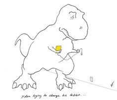 """Whenever I see T-Rex Trying, I always think, """"Poor T-Rex."""" Here he is trying to charge his tablet. Dinosaur Funny, The Good Dinosaur, T Rex Cartoon, T Rex Arms, Dragon Cat, T Rex Humor, Funny Me, Funny Stuff, Website Layout"""