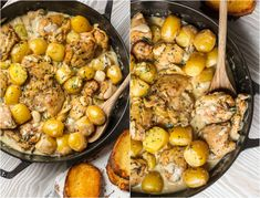 Totally obsessed with this 40 CLOVE CHICKEN AND POTATOES WITH CREAM SAUCE! Chicken with 40 cloves of garlic is all the rage right now.so why not add some potatoes and the ultimate creamy simmer sauce? This is the best chicken recipe of all time! Healthy Sauce For Chicken, Spicy Baked Chicken, Healthy Sauces, Chicken Parmesan Recipes, Best Chicken Recipes, Turkey Recipes, Potato Recipes, Meat Recipes, Cooking Recipes