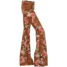 Roberto Cavalli Women Floral Printed Flared Suede Pants (£2,390) ❤ liked on Polyvore featuring pants, brown, brown pants, flower print pants, suede flare pants, flare pants and suede pants