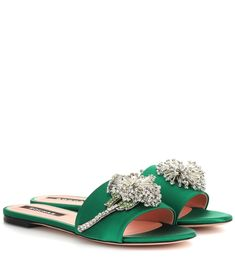 50e6ae1b9532 Rochas - Embellished satin slides - Eschew high heels in favor of a pair of  glamorous