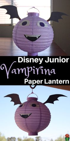 Don't miss this adorably easy Disney Junior Vampirina Craft. Simply decorate a paper lantern and magically you have a Vampirina to hang up in your own room. via @DesertChica