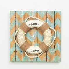 Welcome Aboard Nautical Red Anchor  Wood Life Preserver Saver