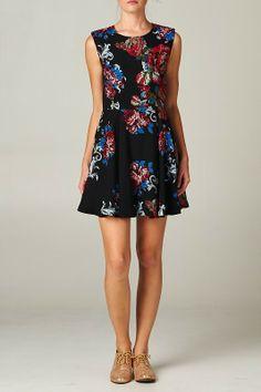 //SWEET RAIN// Red & Blue Floral Dress