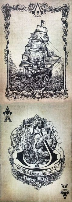 Assasins Creed's Symbol. Idea for a tattoo but... I would take out majority of these drawings.