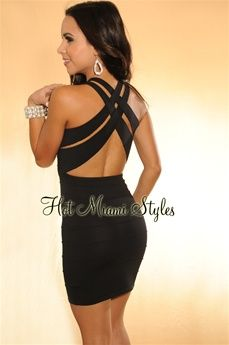 Black CrissCross Open Back Bandage Dress
