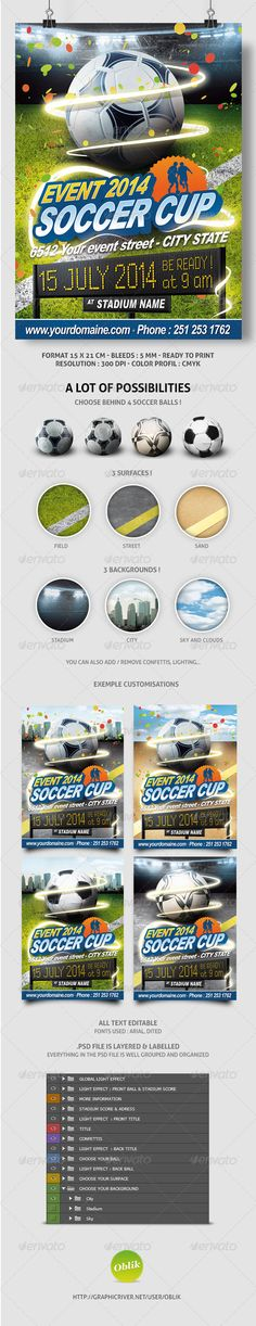 Soccer All Events Flyer  #street #5.91x8.27 #cup • Click here to download ! http://graphicriver.net/item/soccer-all-events-flyer-also-brazil/240016?ref=pxcr