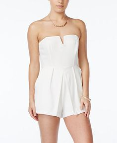 b499ae91faa Material Girl Juniors  Strapless Pleated Romper - Juniors Shorts - Macy s Junior  Rompers