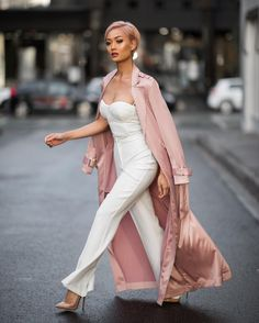 White jumpsuit & long trench