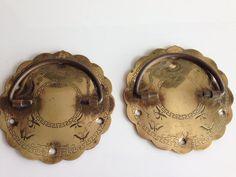 Set Of 2 Brass Drawer Pulls, Chinese Style Drawer Door Handles, Oriental  Brass Asian Engraved Metal Hardware, Chinese Brass Metal Hardware