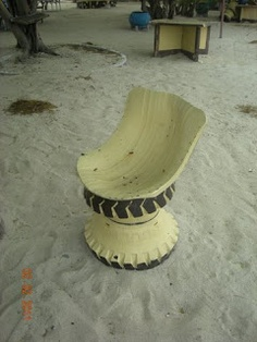 Reuse Old Tires, Reuse Recycle, Upcycle, Recycled Tires, Tire Craft, Tire Furniture, Dark Blue Living Room, Tire Planters, Tire Chairs