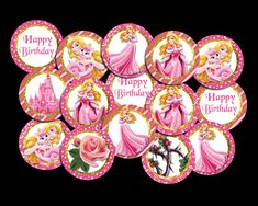 Aurora Sleeping Beauty Cupcake Toppers Party Printables, Cupcake Toppers, My Design, Vibrant Colors, Aurora Sleeping Beauty, Bold Colors