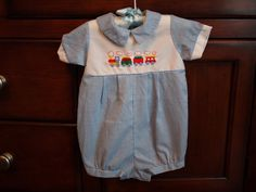 Vintage Alexis brand Baby Boy Pale Blue Checkered Train Embroidery Romper Size 6 months https://www.etsy.com/shop/AmeliaBabble