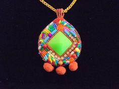 Colorful neon pendant necklace statement necklace by LLiLLiRuas, $28.00