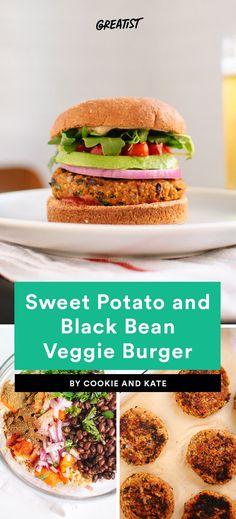 9. Sweet Potato and Black Bean Veggie Burger #healthy #veggieburger # https://greatist.com/eat/veggie-burgers-even-meat-eaters-will-love