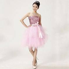 Wedding Party Dress Ball Gown Strapless Knee-length Lace Dress – USD $ 39.99