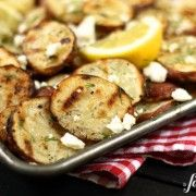 grilled red potatoes with lemon, dill, and feta - a farmgirl's dabbles