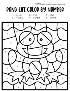 Color by Number Pond Preschool Worksheets