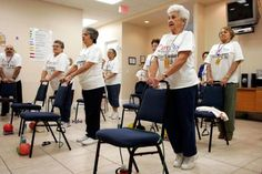 A group of seniors exercising in a Miami, Fl.