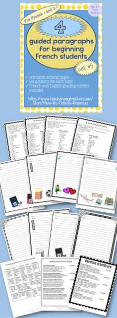 4 guided paragraphs for beginning French will get your students writing paragraphs in no time! NO PREP for you!!! This set is great for music and movie vocabulary, travel vocabulary, and holidays!  Each topic includes a vocabulary list of helpful words and/or phrases that can be used as a primary vocabulary list or as a supplement to your own text and curriculum.  Also includes two printable writing pages (in color and black and white) with images that correspond to the topic. Includes…
