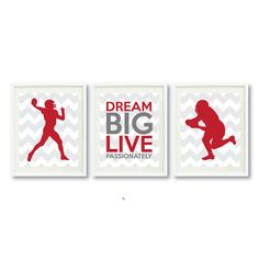 Dream Big Live Passionately Print Art Set of Three-Grey-Aqua-Red-White OR Choose Colors-Kids-Teen Boy Wall