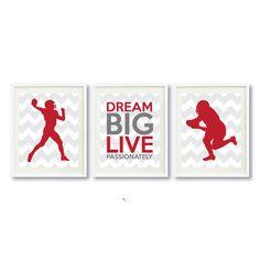Dream Big Live Passionately Series-Football-11x14 Print Art Set-Three-Grey-Brick Red-White OR Choose Colors-Kids-Teen Boy Wall Art-Decor-3