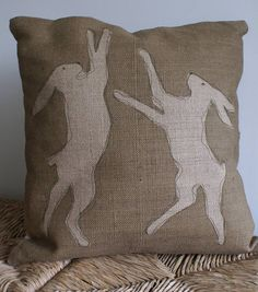 Hessian Boxing Hares Cushion